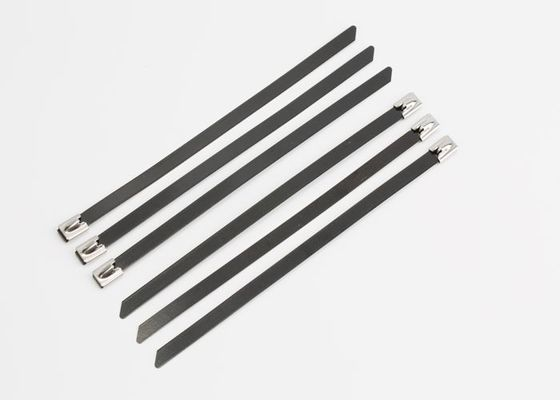 598488100033 High Strength PVC Coated Black Stainless Steel Cable Ties Ball Locking
