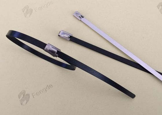 China Plastic Coated High Temp Zip Ties , Black Metal Zip Ties With 100kg Tensile Strength supplier